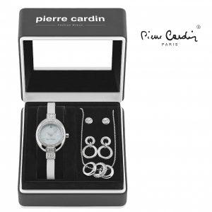 Conjunto Pierre Cardin® White Silver Hoops   Relógio   Colar   4 Brincos