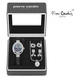 Conjunto Pierre Cardin® Black Silver Hoops | Relógio | Colar | 4 Brincos