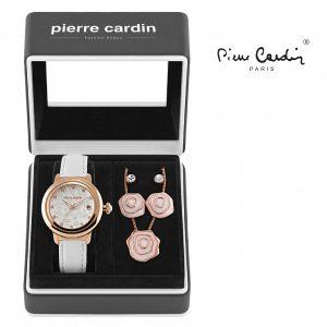 Conjunto Pierre Cardin® Flowers White | Rose Gold | Relógio | Colar | 4 Brincos