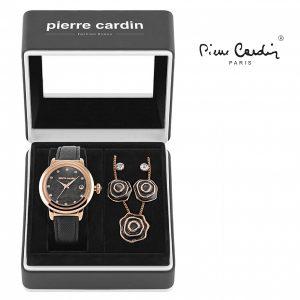 Conjunto Pierre Cardin® Flowers Black | Rose Gold | Relógio | Colar | 4 Brincos