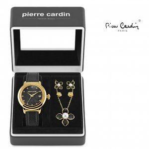 Conjunto Pierre Cardin® Petals Black   Gold   Relógio   Colar   4 Brincos