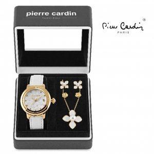 Conjunto Pierre Cardin® Flowers White | Gold | Relógio | Colar | 4 Brincos