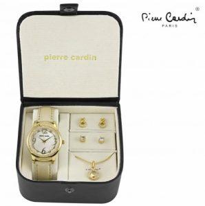 Conjunto Pierre Cardin® Golden Heart Circle | Relógio | Colar | 4 Brincos