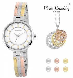 Conjunto Pierre Cardin® Versatile Gold | Rose Gold & Silver | Relógio | Colar | 6 Brincos