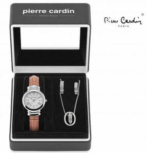 Conjunto Pierre Cardin® Brown Wood | Relógio | Colar | 2 Brincos