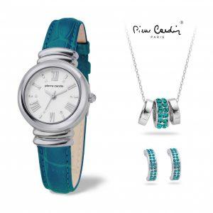 Conjunto Pierre Cardin® Pearl Blue   Relógio   Colar   2 Brincos