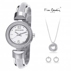 Conjunto Pierre Cardin® Classic Charm Silver   Relógio   Colar   2 Brincos