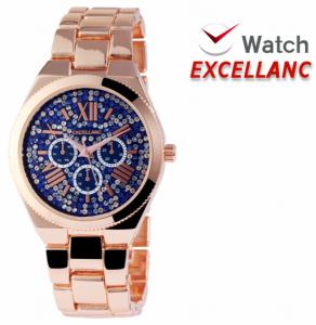 Relógio Excellanc Senhora com Pedras | Rose Gold e Azul