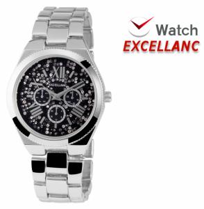 Relógio Excellanc Senhora com Pedras | Prateado e Preto