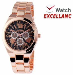 Relógio Excellanc Senhora com Pedras | Rose Gold e Preto