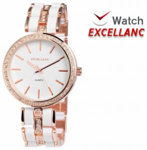 Relógio Excellanc Senhora   Rose Gold e Branco