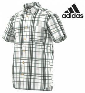Adidas® Camisa Manga Curta Xadrez Branco | Cinza