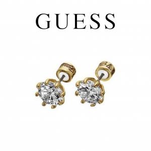 Guess® Brincos Dourados com Cristal | Redondos