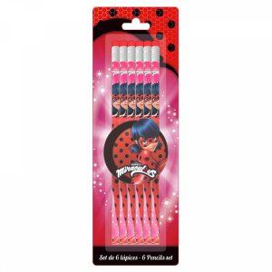 Conjunto 6 Lápis Miraculous Ladybug | Produto Licenciado