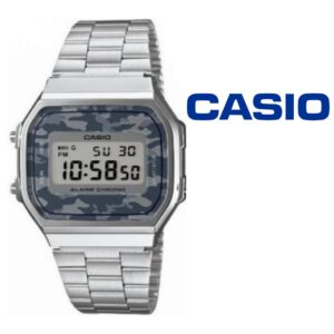 Relógio Casio® Vintage Prateado Camuflado Cinza A168WEC-1EF