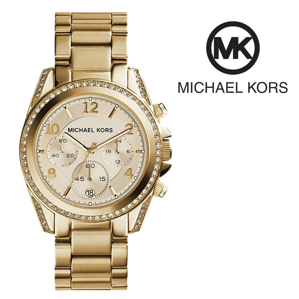 Relógio Michael Kors® Blair Glitz Dourado Cronógrafo - You Like It c89ba9b142