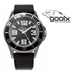 Relógio Gooix® Merek Bracelete em Couro Castanho | Mostrador Preto | 10ATM