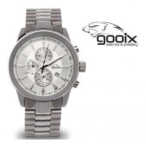Relógio Gooix® Nuke Cronógrafo Prateado | Bracelete Aço Inoxidável | 10ATM