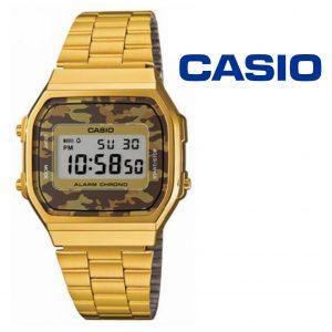 Relógio Casio® Vintage Dourado Camuflado A168WG