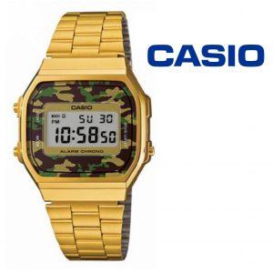 Relógio Casio® Vintage Dourado Camuflado Verde A168WEGC-3