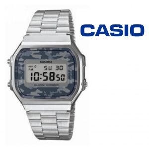 WatchCasio® Vintage Silver Camouflaged Gray A168WE