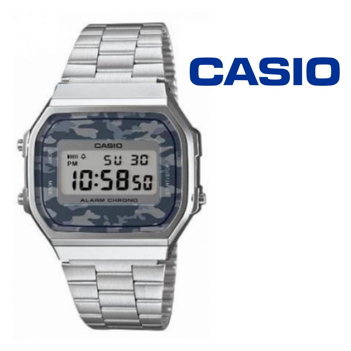 ffd30a6c42f Relógio Casio® Vintage Prateado Camuflado Cinza A168WEC-1 - You Like It