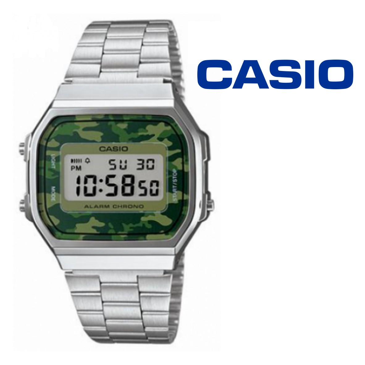 260a720a069 Watch Casio® Vintage Silver Camouflaged Green A168WE - You Like It