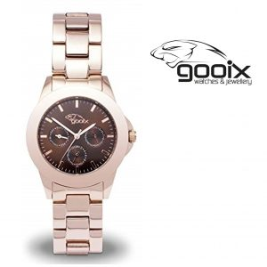 Relógio Gooix® Adissa Classic Dourado Rosa | Mostrador Castanho | 5ATM
