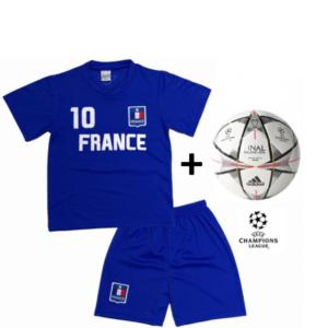 Adidas Mini Bola Oficial + Conjunto França Réplica Camisola E Calções Criança