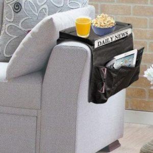 Organizador de comandos com bandeja para sofá .