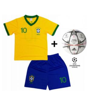 Adidas Mini Bola Oficial + Conjunto Brasil Réplica Camisola E Calções Criança