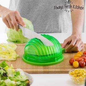 Recipiente Para Lavar, Escorrer e Cortar Rapidamente Saladas Quick Salad Maker