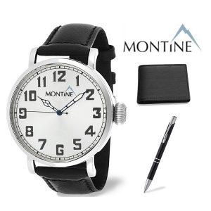 Conjunto 3 Peças Montine® Relógio Com Bracelete Preta | Carteira | Caneta