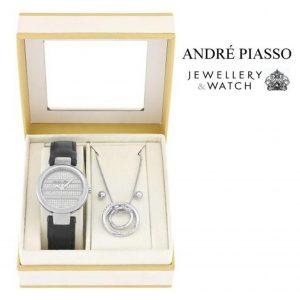 Conjunto Andre Piasso® Rings Silver | Relógio | Colar | Brincos