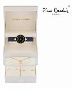 Conjunto Pierre Cardin® Relógio Black Gold | Colar | 4 Brincos