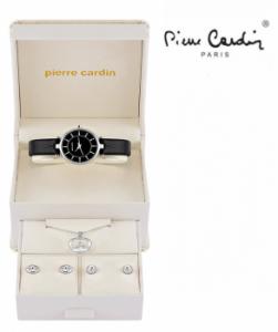 Conjunto Pierre Cardin® Women´s Classic Black Silver | Relógio | Colar | 4 Brincos