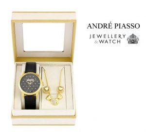 Conjunto Andre Piasso® Heart Crystals | Relógio | Colar | Brincos