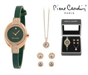 Conjunto Pierre Cardin® Green Silver Crystal | Relógio | Colar | 4 Brincos
