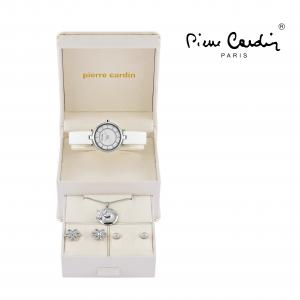 Conjunto Pierre Cardin® Relógio Branco Prata | Colar | 2 Pares de Brincos