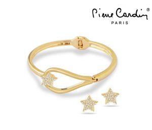 Conjunto Pierre Cardin® Secret Crush Gold | 1 Pulseira e 2 Brincos