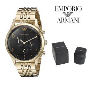 Relógio Emporio Armani® Classic Black Dial Gold