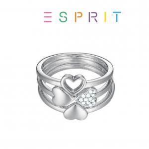 Esprit® Anel Trevo com Cristais Brilhantes | Prateado | 17mm