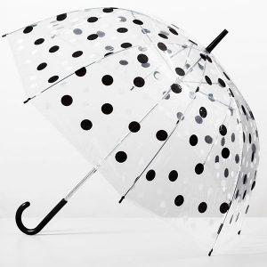 Guarda-Chuva Transparente às Bolinhas