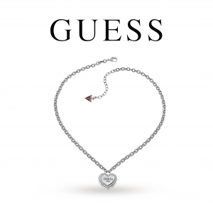 Guess® Guess Heart Pendant Necklace | With Crystals | Silver
