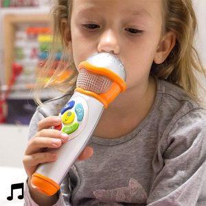 Microfone de Mão com Luz e Som para Crianças