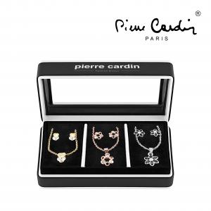 Conjunto Pierre Cardin® 3 Colares e 6 Brincos com Cristais | Prateado, Dourado e Rose Gold