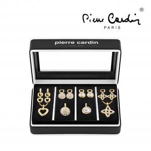 Conjunto Pierre Cardin® 4 Colares e 4 Brincos | Adaptável | Dourado com Cristais Brancos