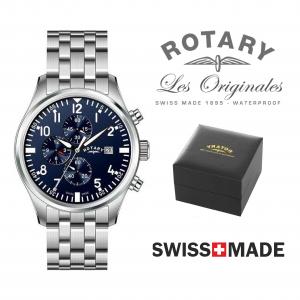 Relógio Rotary Switzerland® Men's Cronógrafo Prateado & Azul | 10ATM
