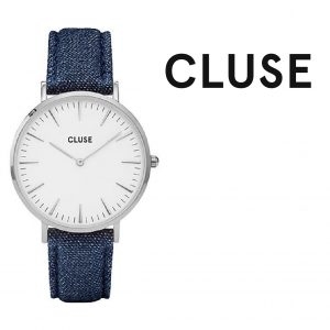 Relógio Cluse® La Bohème Silver White/Blue Denim | 38MM