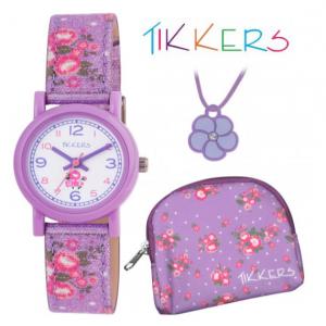 Conjunto Oferta | Relógio Tikkers Pink Floral